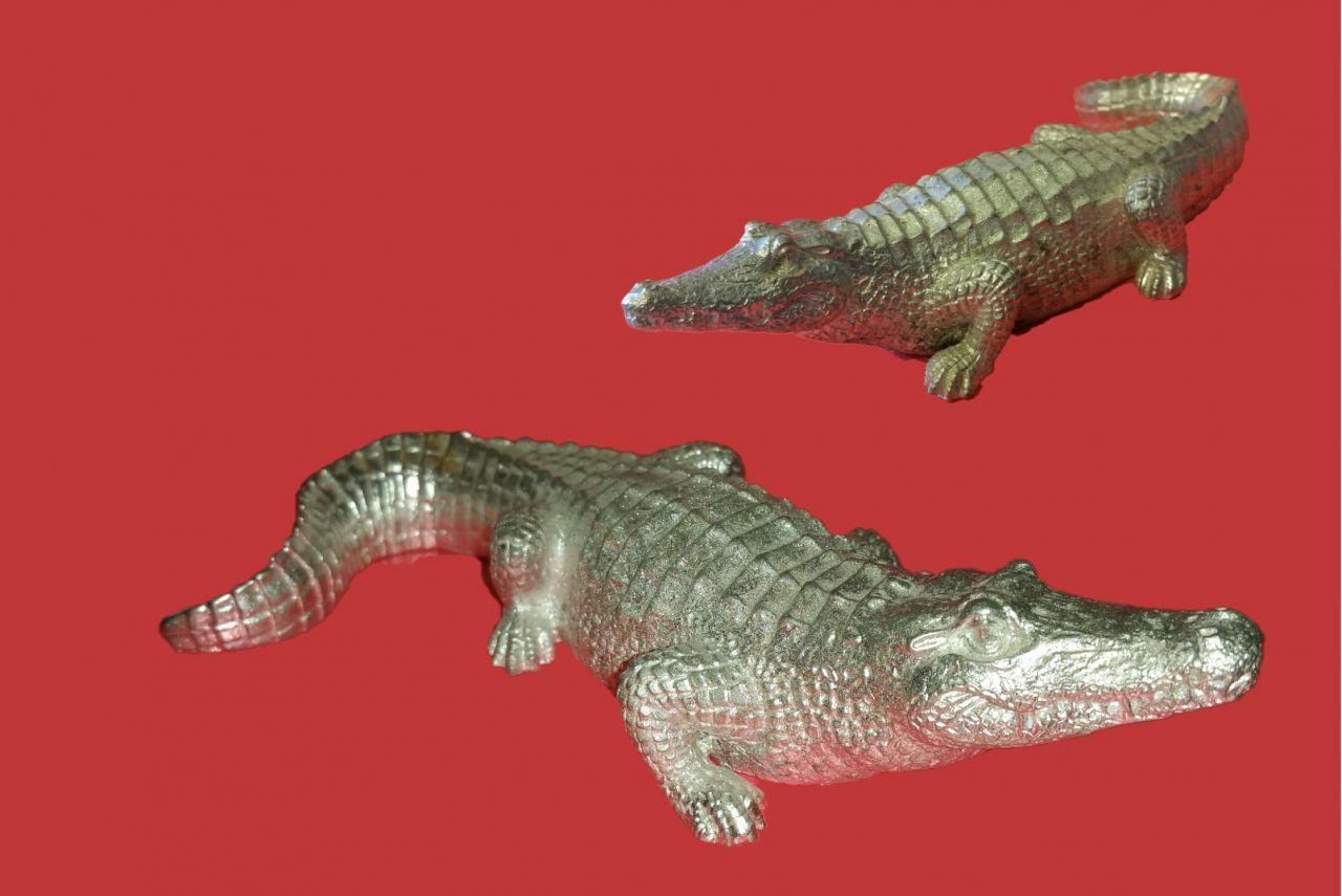 Zinngießform Krokodil , ca.385 g Reinzinn