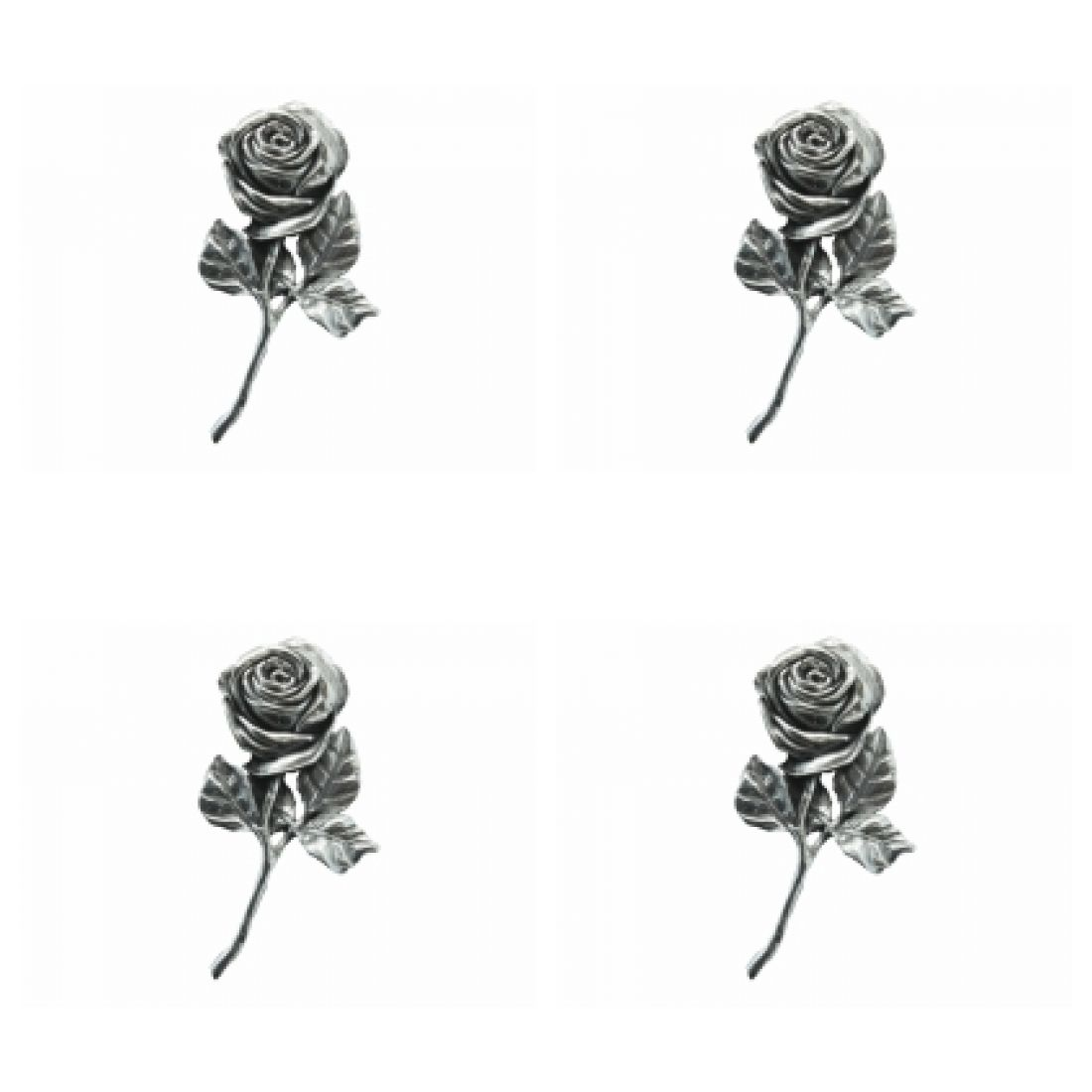 4 x Pin Anstecker Badge Rose Abmessung 4,8x2,7cm