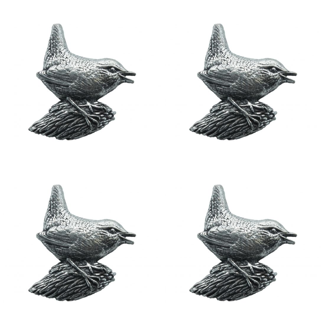 4 x Pin Anstecker Badge Winterkönig, 3,3x3,6cm