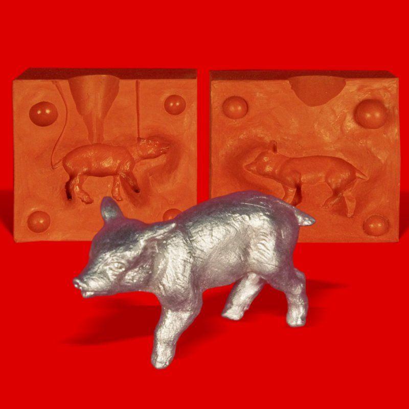 Zinngießform Wildschwein Frischling Kopf oben, ca. 50g Reinzinn