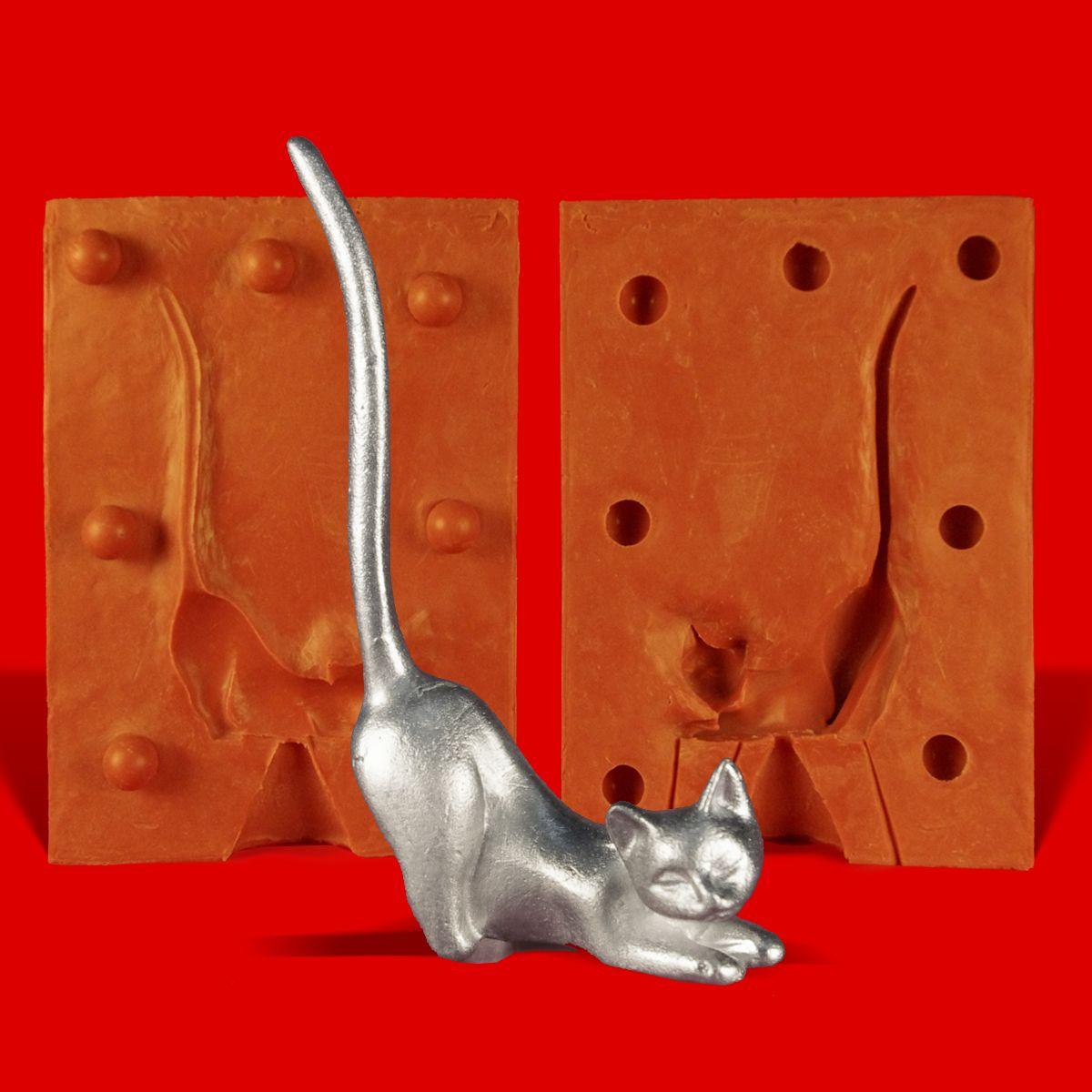 Zinngießform Ringhalter Katze kniend ca 60g Reinzinn