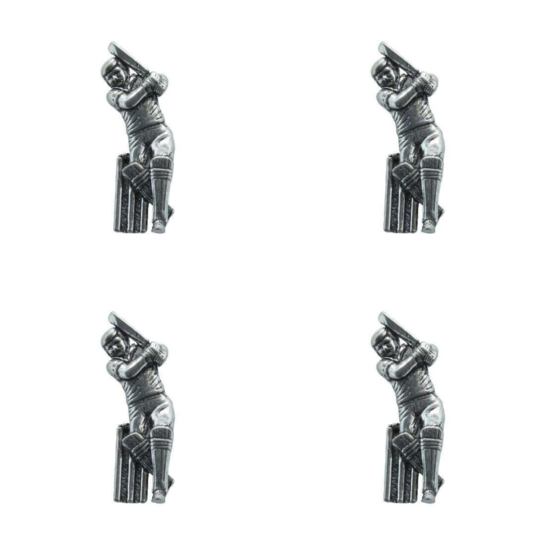 4x Pin Anstecker Badge Kricketspieler