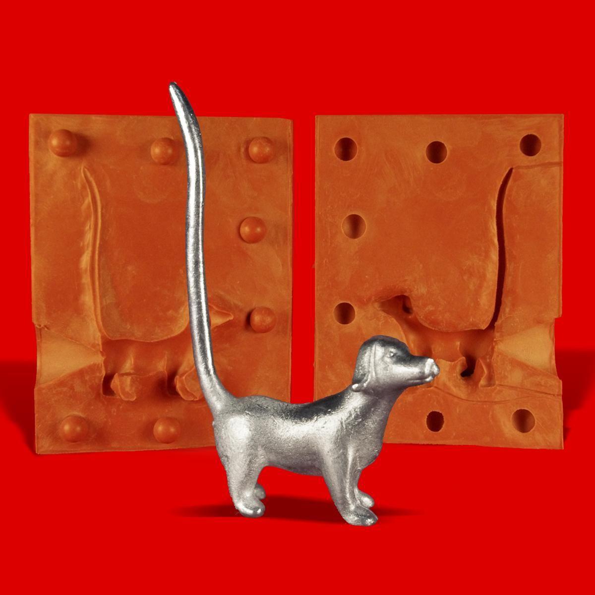 Zinn Giessform Ringhalter Hund Dackel stehend Silikonform hitzebeständig - benötigt ca. 55g Reinzinn