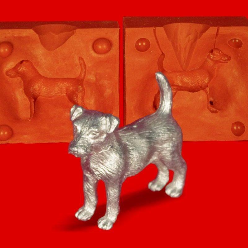 Zinn Giessform Schäferhund Silikonform hitzebeständig - benötigt ca. 70g Reinzinn