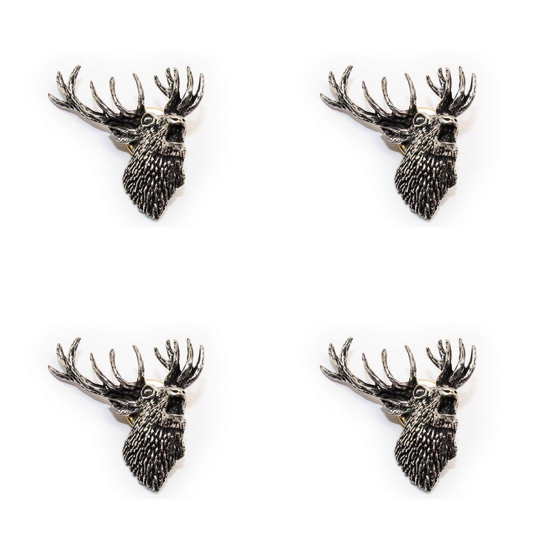 4x Pin Anstecker Badge röhrender Hirsch , 3,6x4cm
