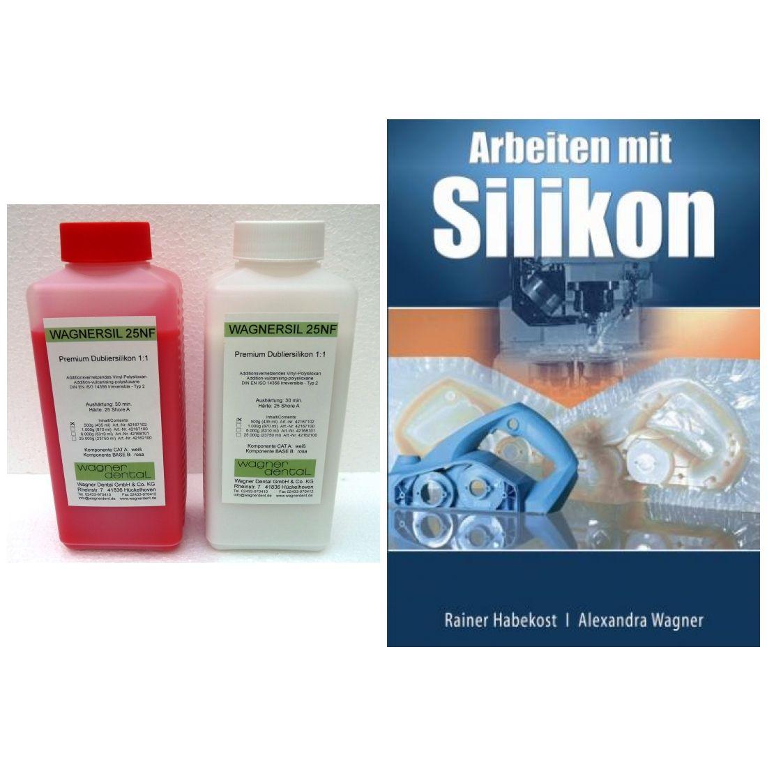 Wagnersil Premium 25 NF rosa Shore 25 EFZ 30 min 1:1 im Set mit Buch Arbeiten Silikon von Rainer Hab
