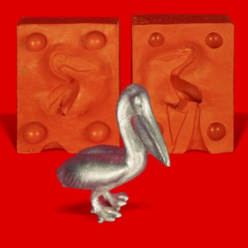 Zinngießform Pelikan, ca. 22g Reinzinn