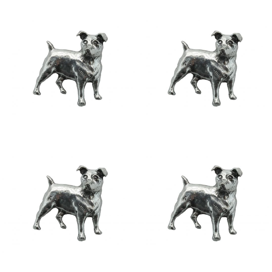 4 x Pin Anstecker Badge Jack Russel, 2,5x2,7cm