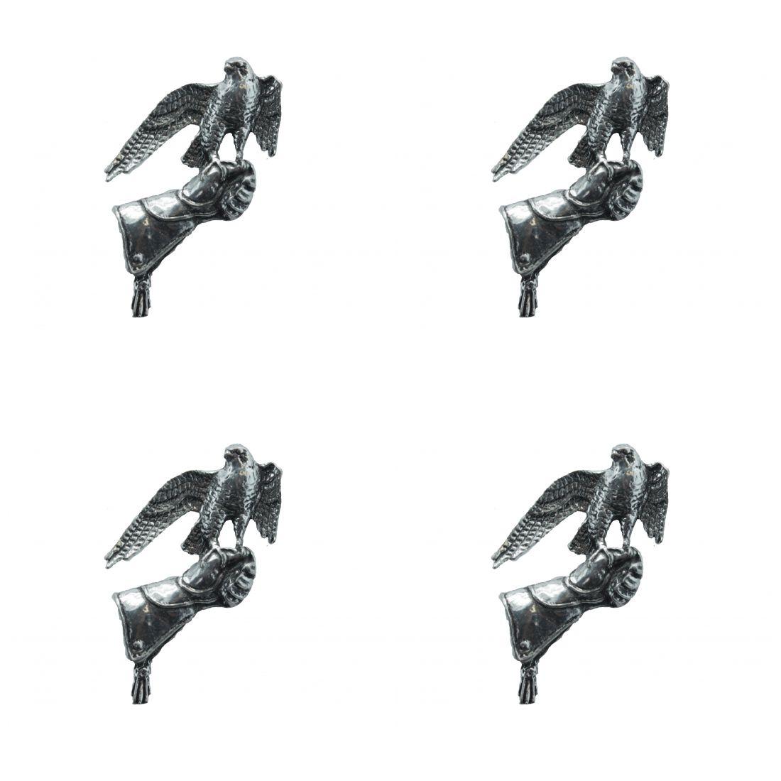 4 x Pin Anstecker Badge Falke auf Handschuh, 4,4x3,2cm