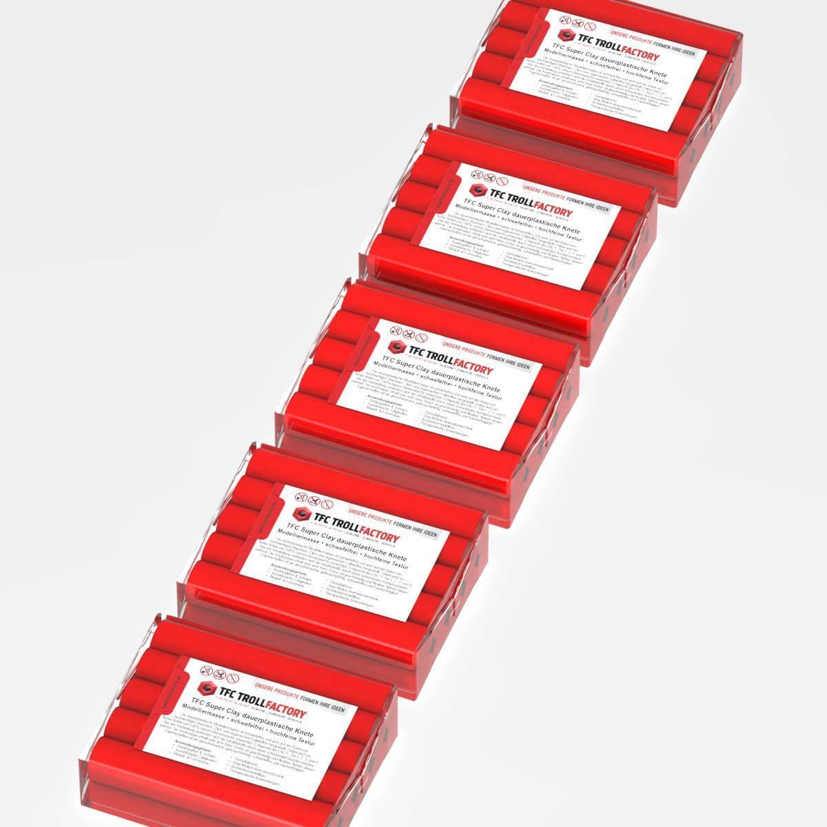 TFC SUPER CLAY Knete rot Modelliermasse hochfeine Textur geschmeidig formstabil dauerplastisch