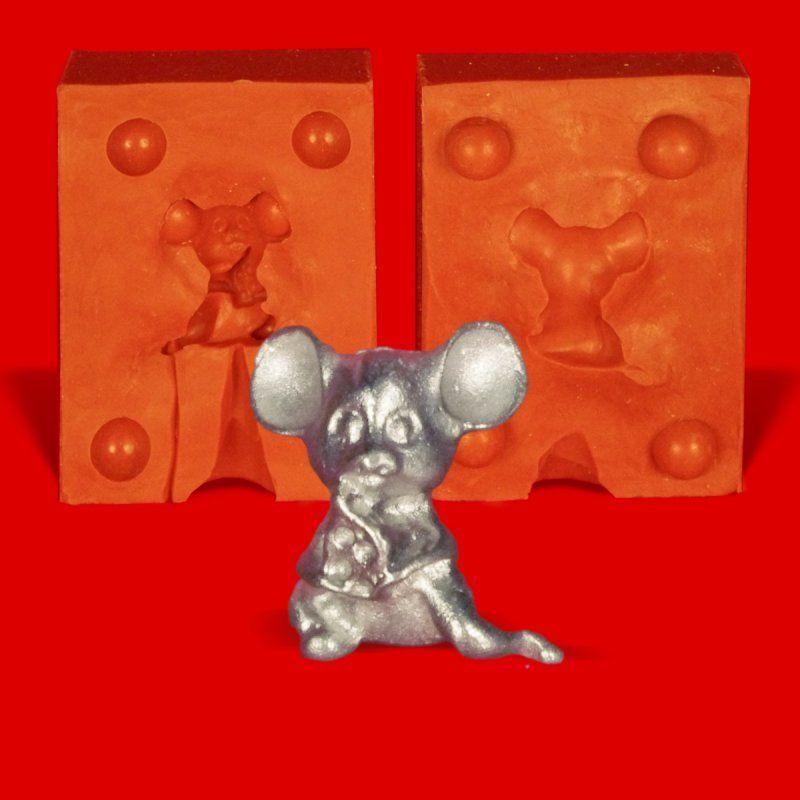 Zinngießform Maus mit Käse 1, ca. 20g Reinzinn