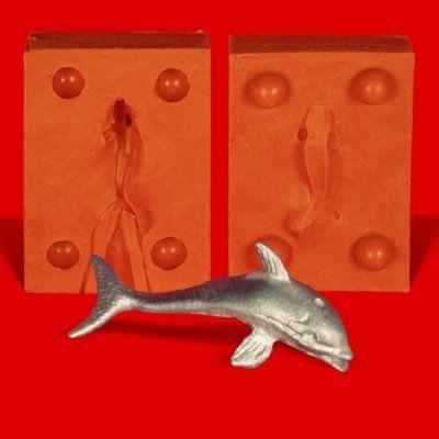 Zinngießform Delphin Delfin, ca. 8g Reinzinn