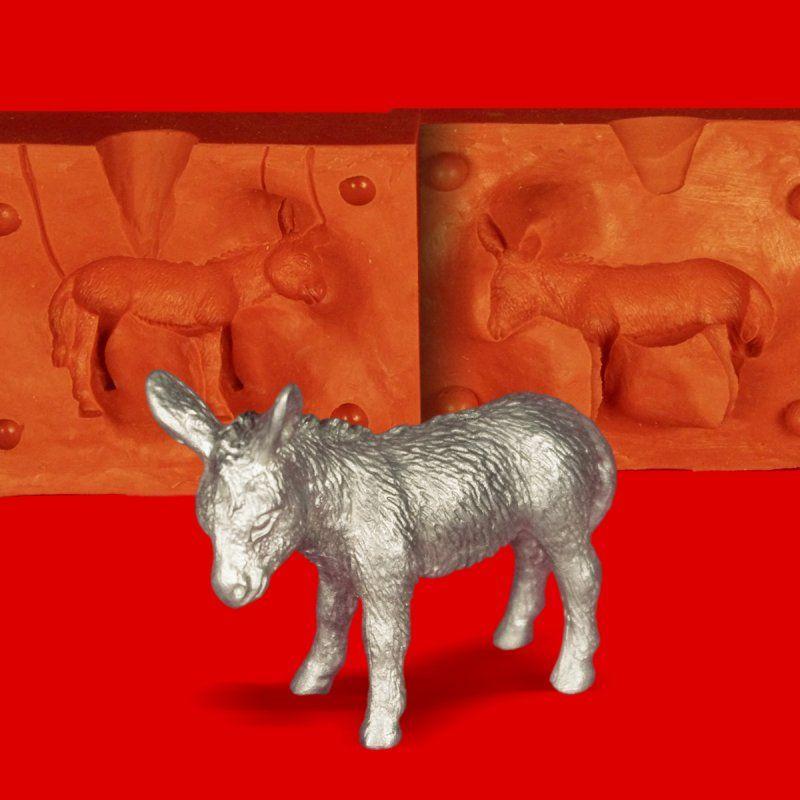 Zinngießform Esel Muli Maultier, ca. 140g Reinzinn