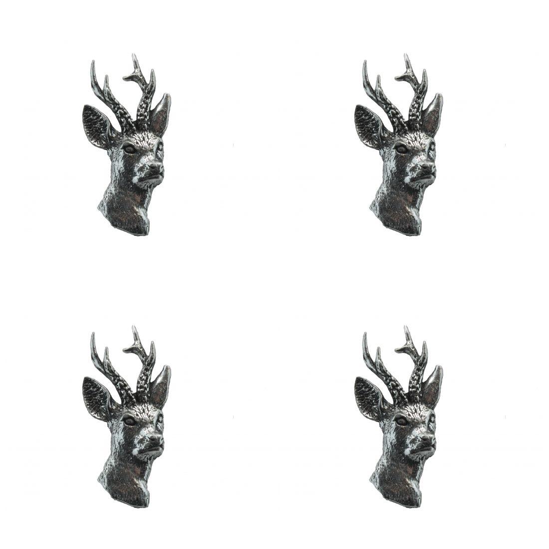 4 x Pin Anstecker Badge Reh Kopf, 1,7x3,2cm