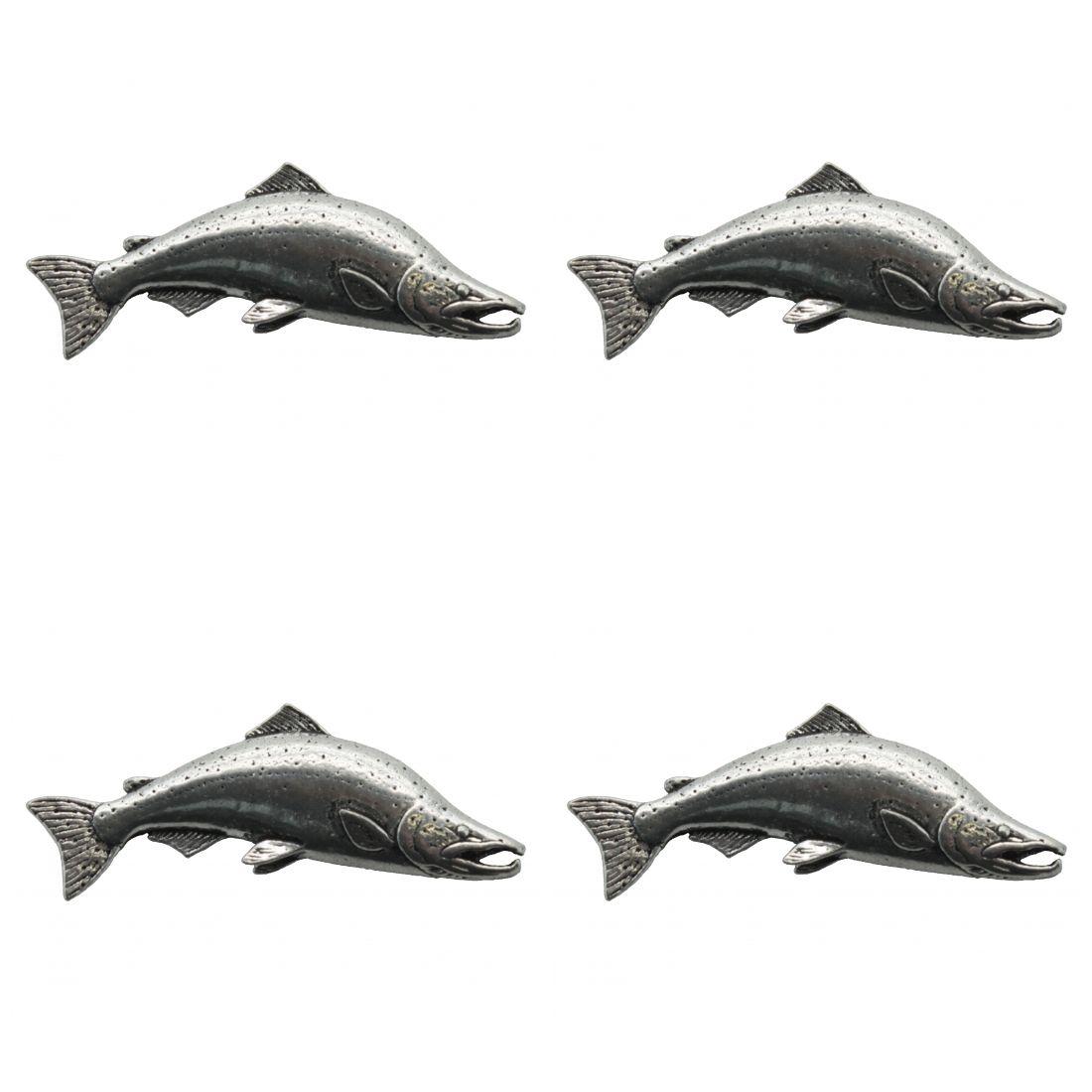 4 x Pin Anstecker Badge Lachs Salm Gross, 4,5x1,8cm