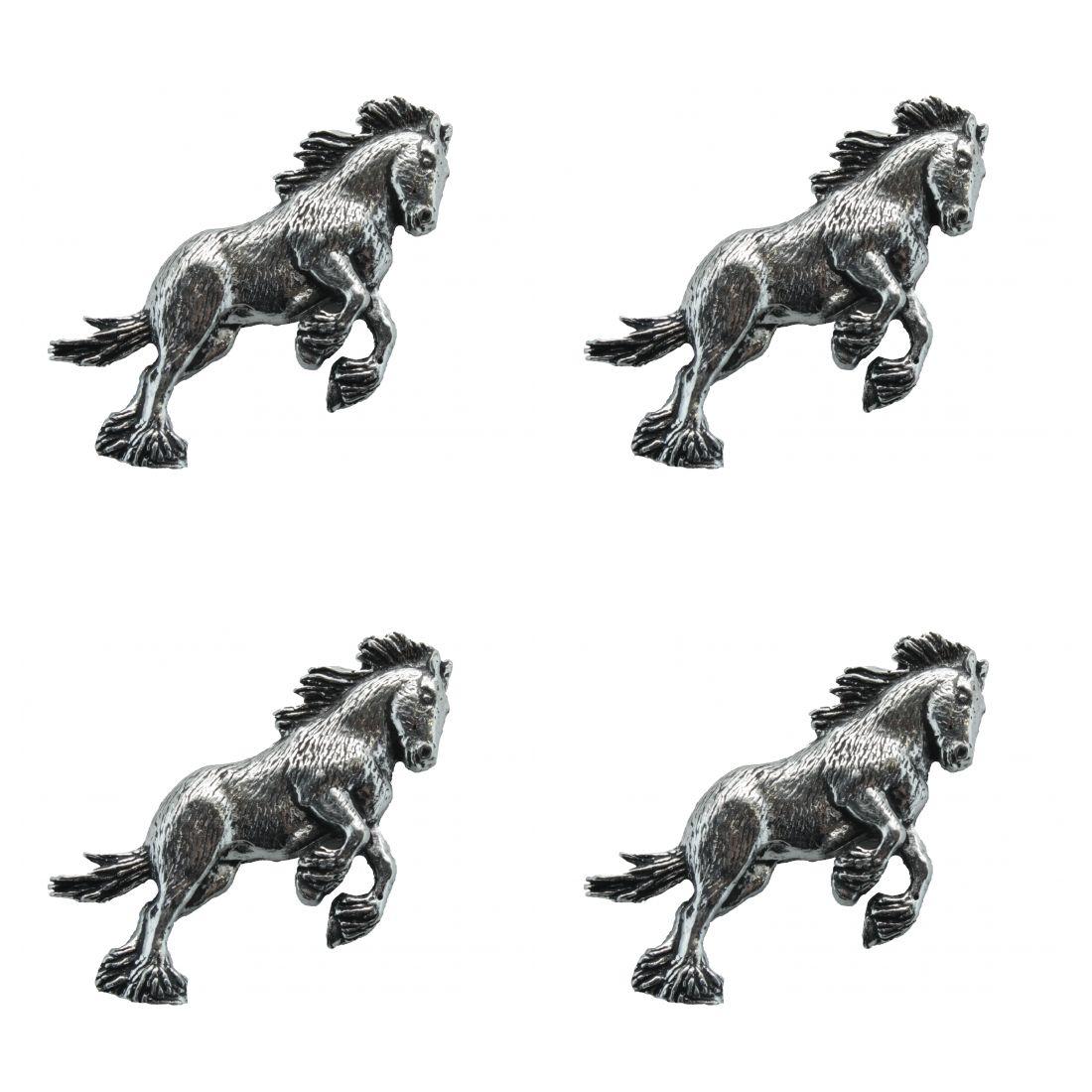 4x Pin Anstecker Badge Pferd im Sprung, 4,4x2,5cm