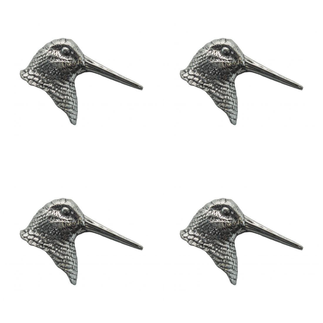 4 x Pin Anstecker Badge Kopf Schnepfe, 3,7x2,4cm