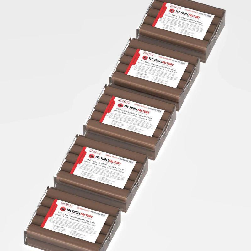 TFC SUPER CLAY Knete braun Modelliermasse hochfeine Textur geschmeidig formstabil dauerplastisch