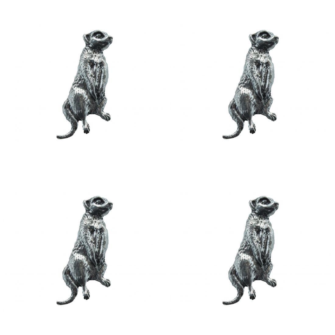 4x Pin Anstecker Badge Erdmännchen Meerkats, 1,7x4,4cm