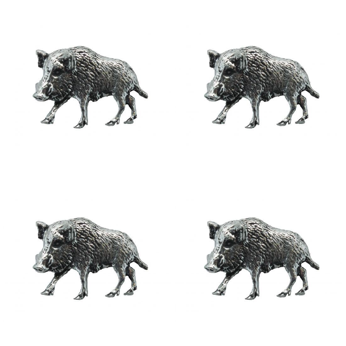 4x Pin Anstecker Badge Wildschwein