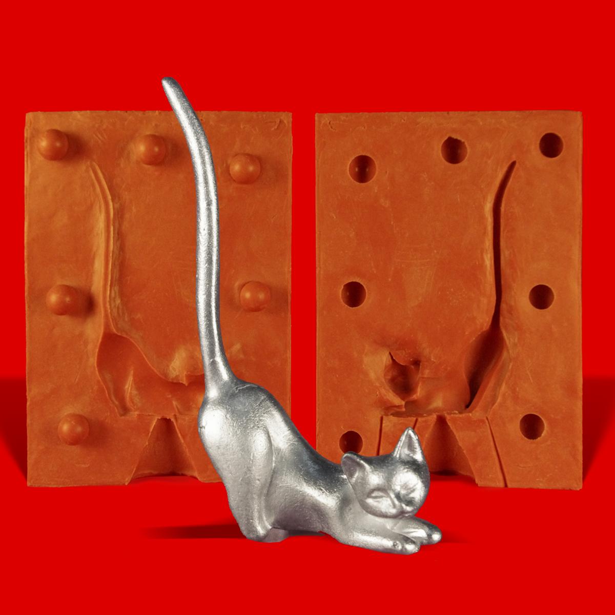 Zinngießform Ringhalter Katze sitzend 1 ca 55g Reinzinn