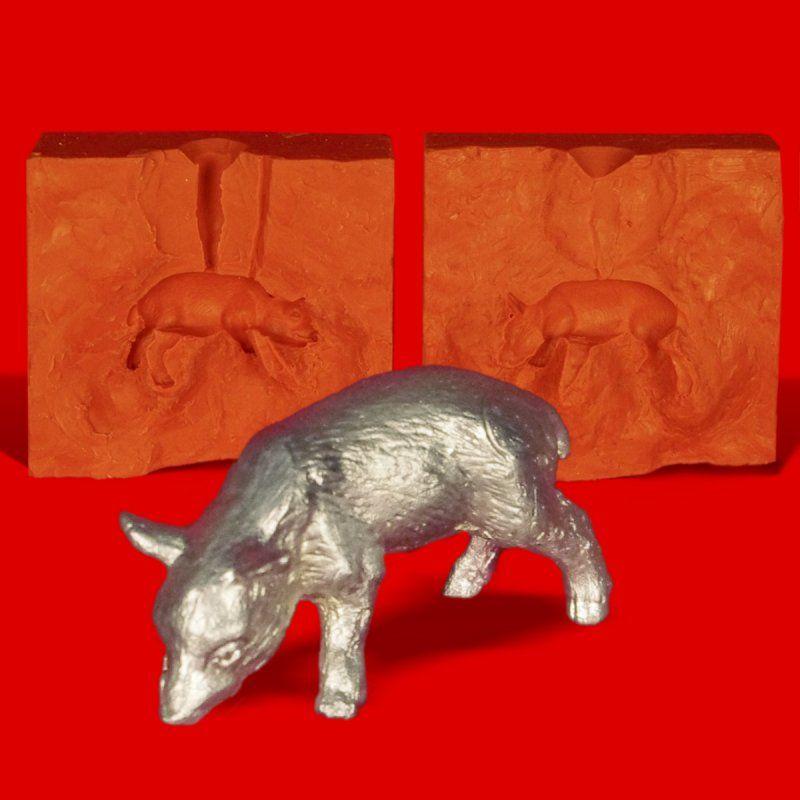 Zinngießform Wildschwein Frischling Kopf unten, ca. 50g Reinzinn