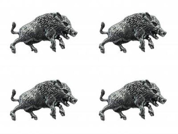 4x Pin Anstecker Badge Wildschwein, 3,5x2,0cm
