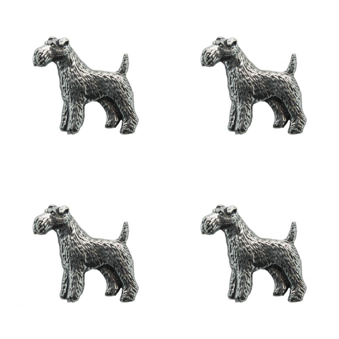 4 x Pin Anstecker Badge Fox Terrier, 2,8x2,9cm