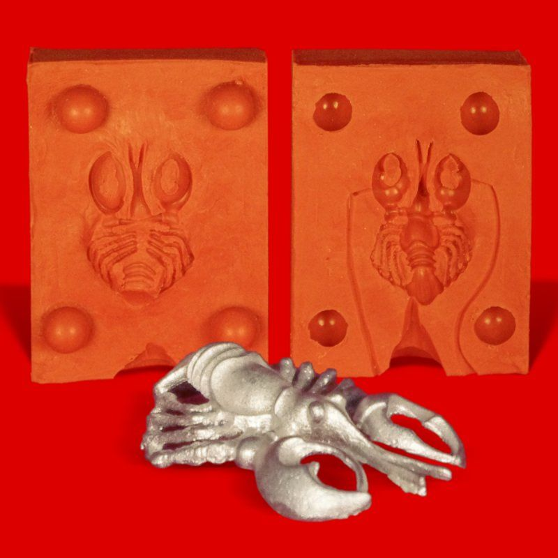 Zinngießform Hummer Languste Lobster, ca. 11g Reinzinn