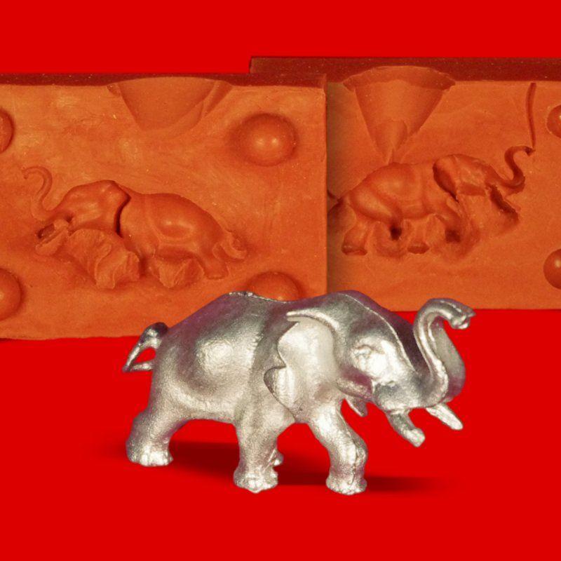 Zinngießform Kleiner Elefant trompetend, ca.30g Reinzinn