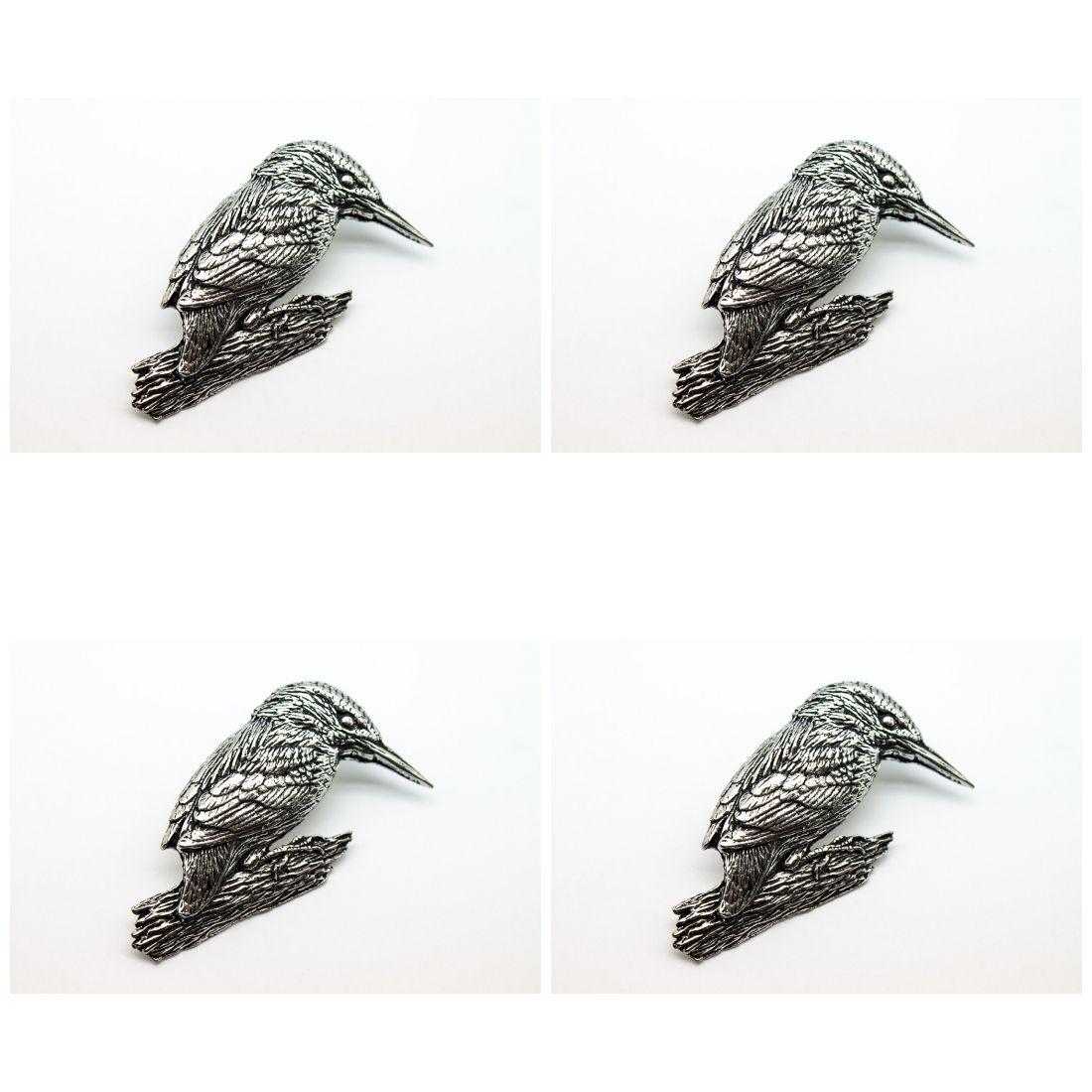 4 x Pin Anstecker Badge Eisvogel, 4,5x2,7cm