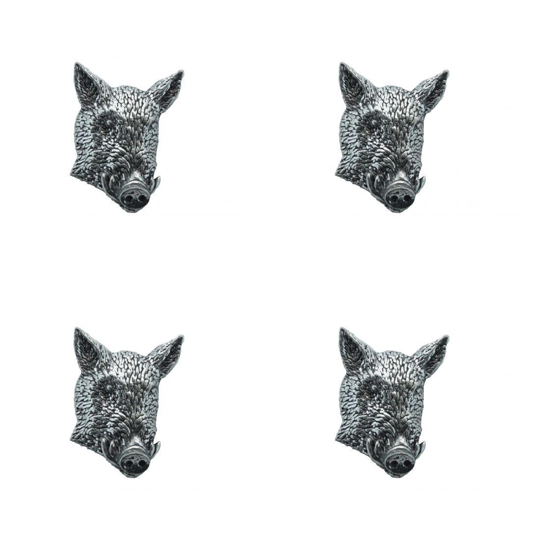 4x Pin Anstecker Badge Wildschweinkopf 1, 3,7x2,1cm