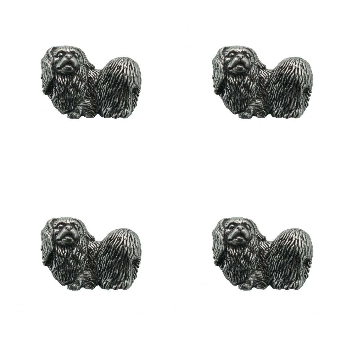 4 x Pin Anstecker Badge Pekinese, 2,7x2,1cm