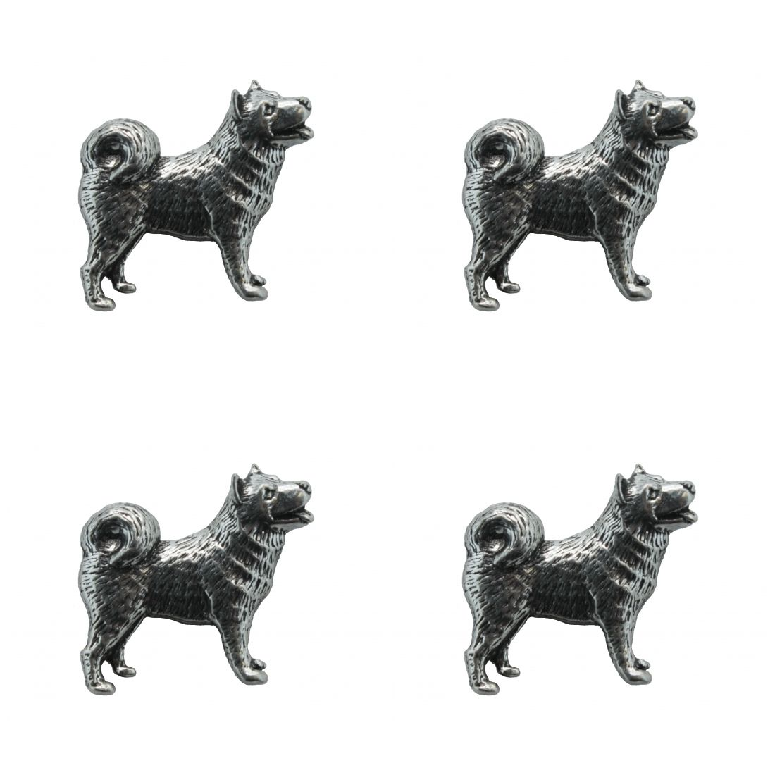 4 x Pin Anstecker Badge Husky, 3x2,7cm
