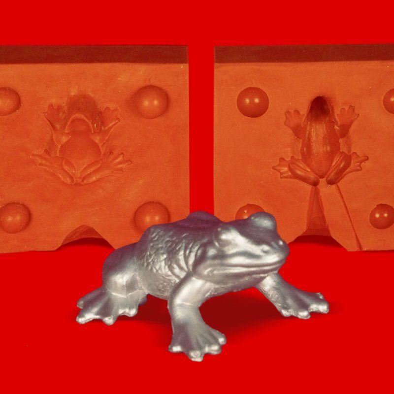 Zinngießform Frosch gross, ca. 40g Reinzinn