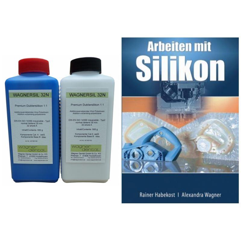 Wagnersil Premium 32 N blau Shore 32 EFZ 30 min 1:1 im Set mit Buch Arbeiten Silikon von Rainer Habe