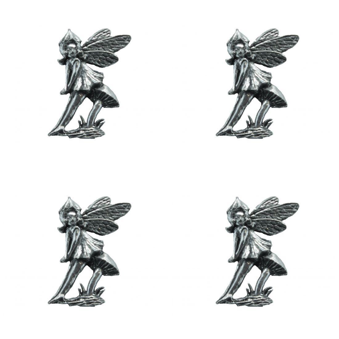 4 x Pin Anstecker Badge Elfe sitzend, 2,7x3,2cm