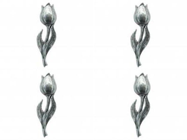 4 x Pin Anstecker Badge Tulpe, 5,0x1,5cm