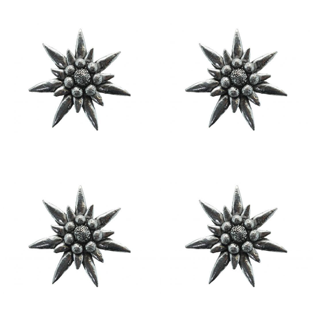 4 x Pin Anstecker Badge Edelweiss gross, 3,6cm x3,6cm,,