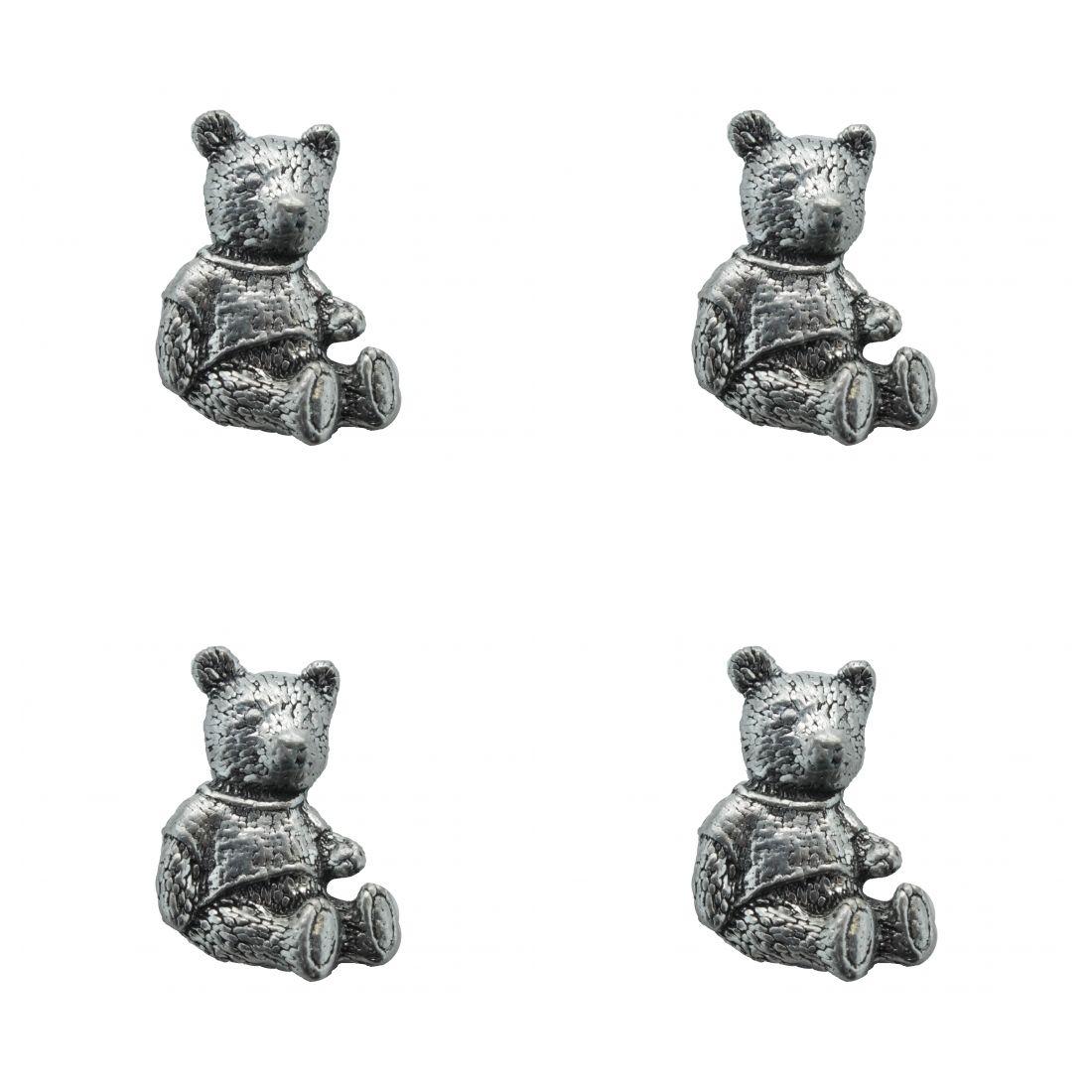 4x Pin Anstecker Badge Teddybär, 3,2x2,2cm