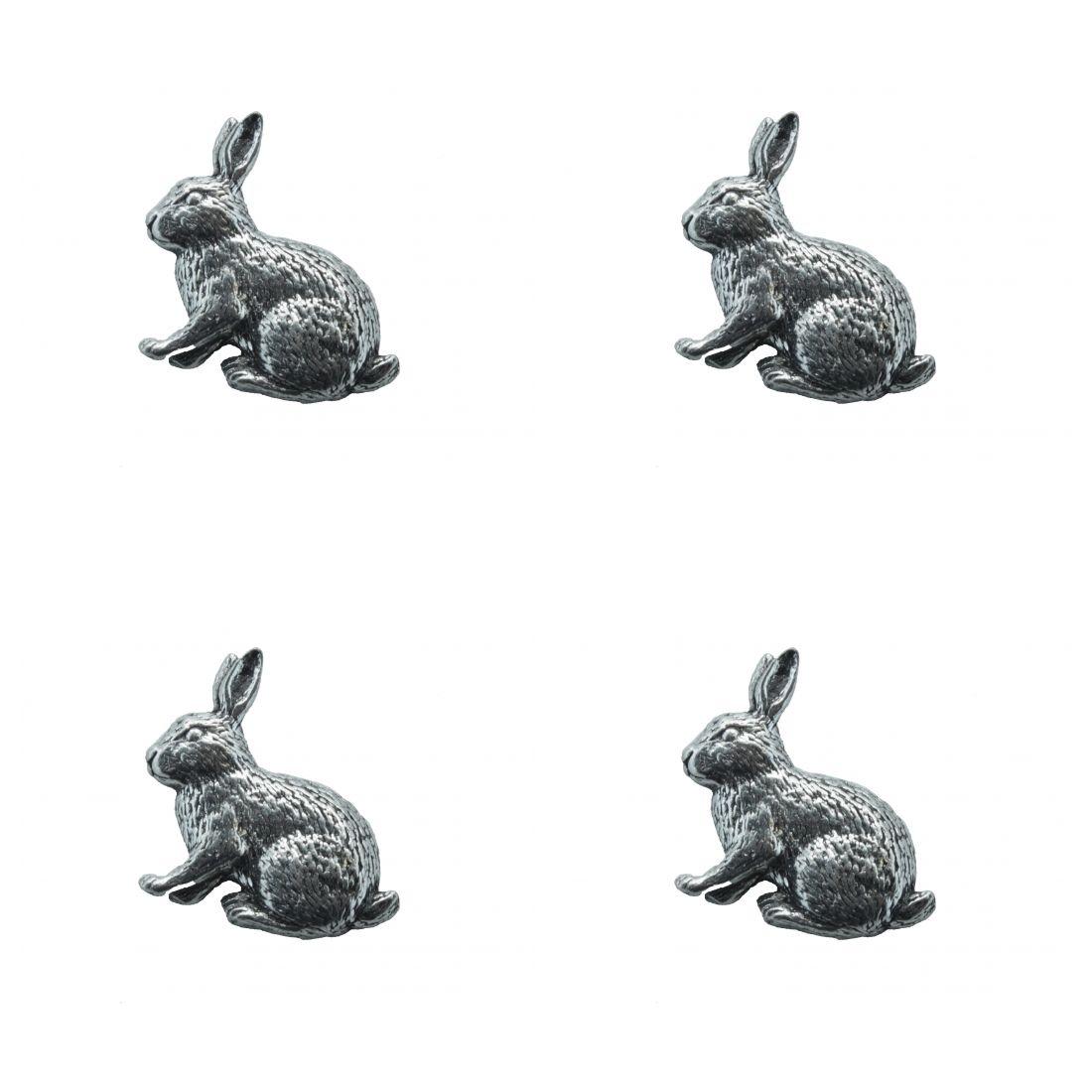 4x Pin Anstecker Badge Kaninchen, 2,4x2,9cm