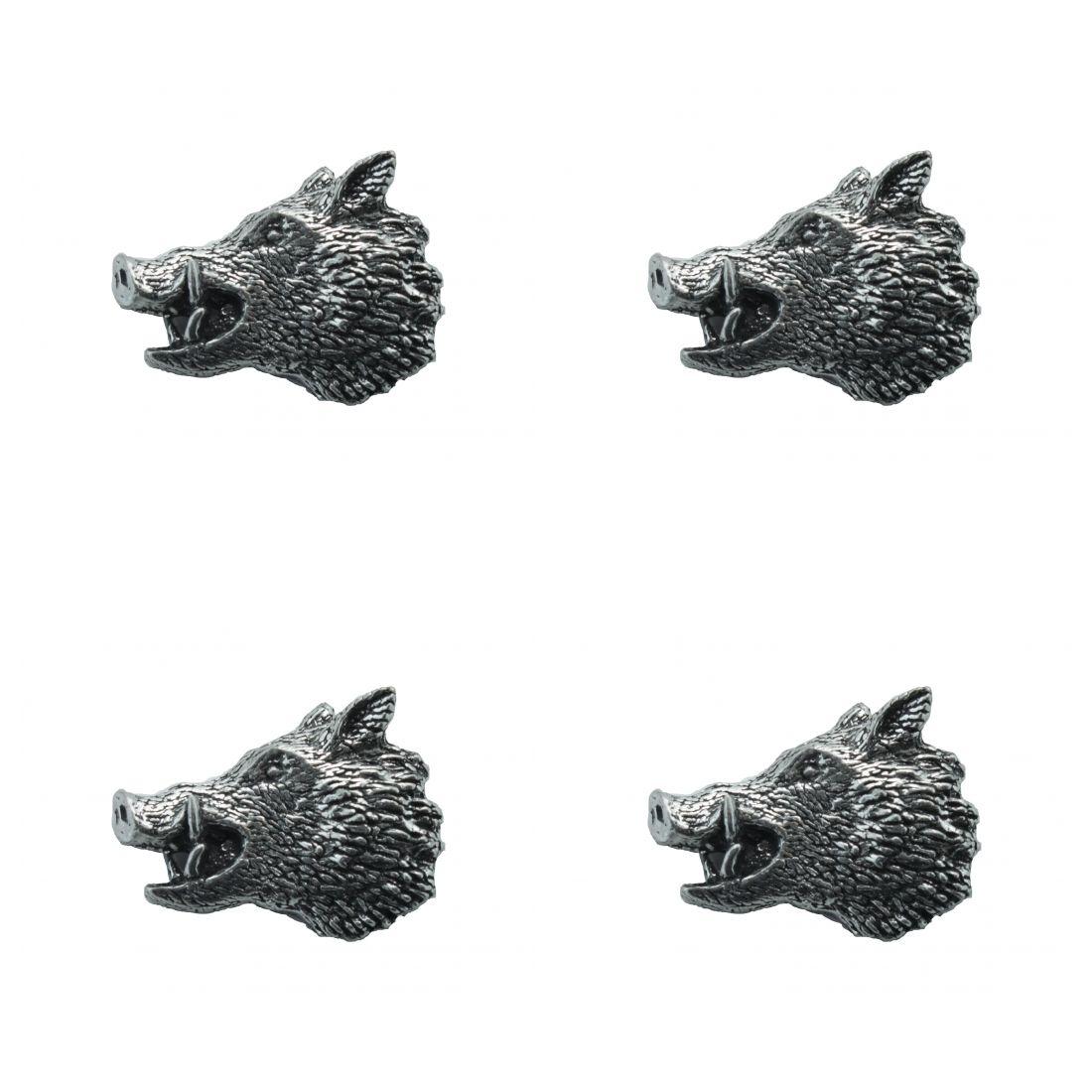 4x Pin Anstecker Badge Wildschweinkopf 2, 3,1x2,1cm