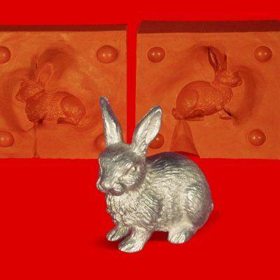 Zinngießform Hase Kaninchen Langohr, 80g Reinzinn