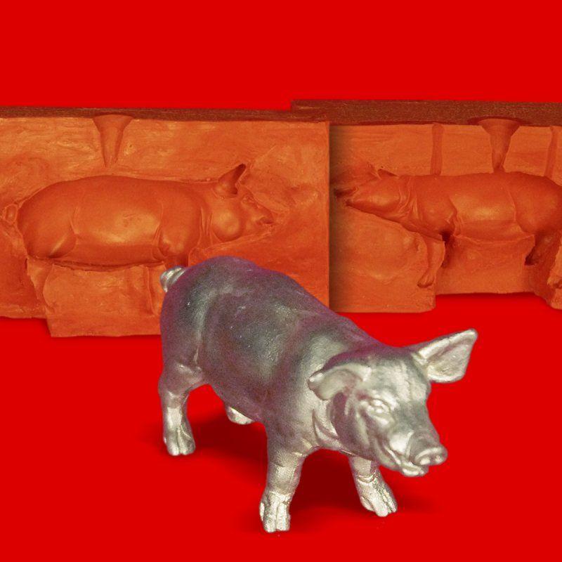 Zinngießform Schwein Hauschwein stehend, 390g Reinzinn