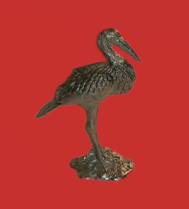 Zinngießform Storch , ca. 160g Reinzinn