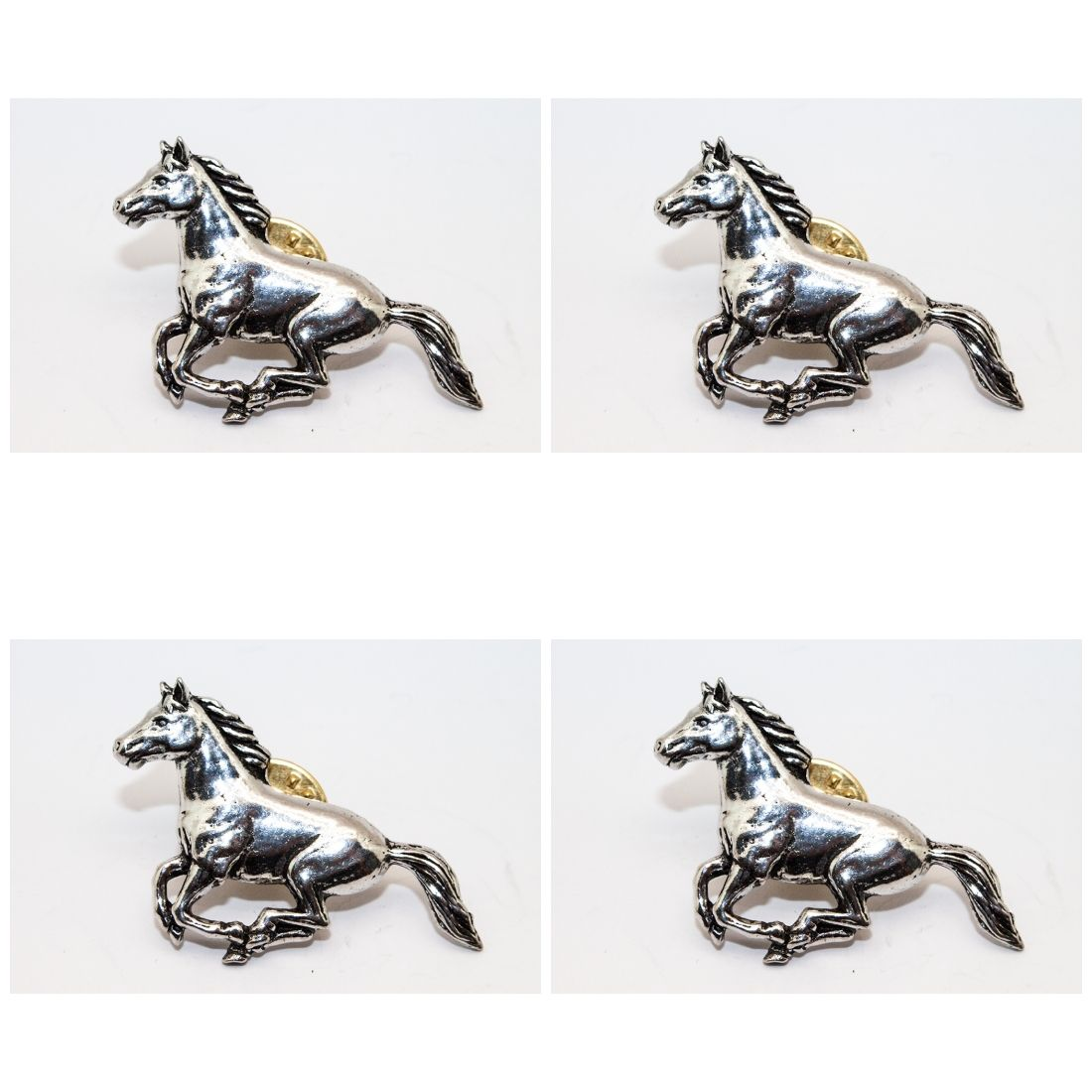 4x Pin Anstecker Badge Pferd im Galopp, 2,6x4,1cm