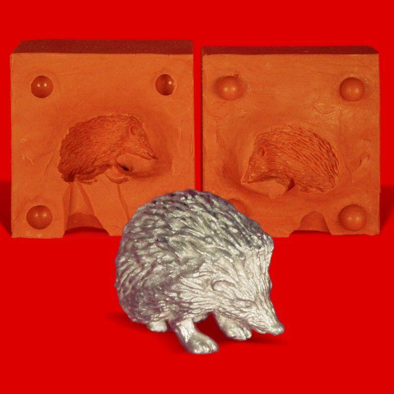 Zinngießform Igel Hedgehog, 110g Reinzinn