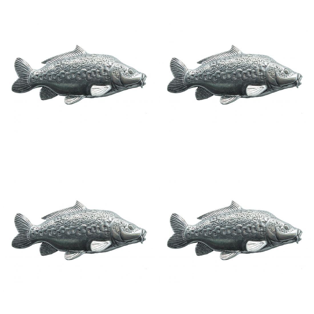 4 x Pin Anstecker Badge Spiegelkarpfen, 4,3x1,9cm
