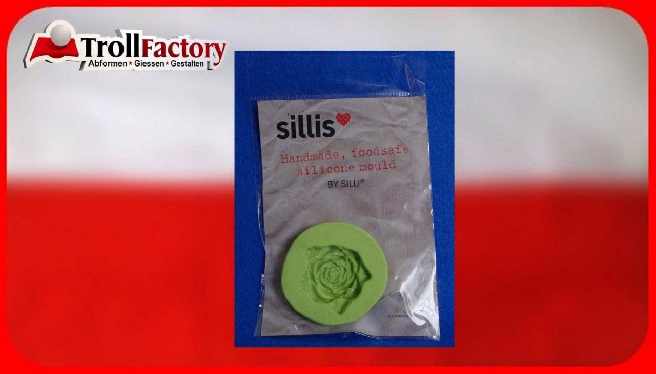 SILLI Silikonform Lebensmittel Lange geschnitzte Rose, ca. 4,3x 4cm