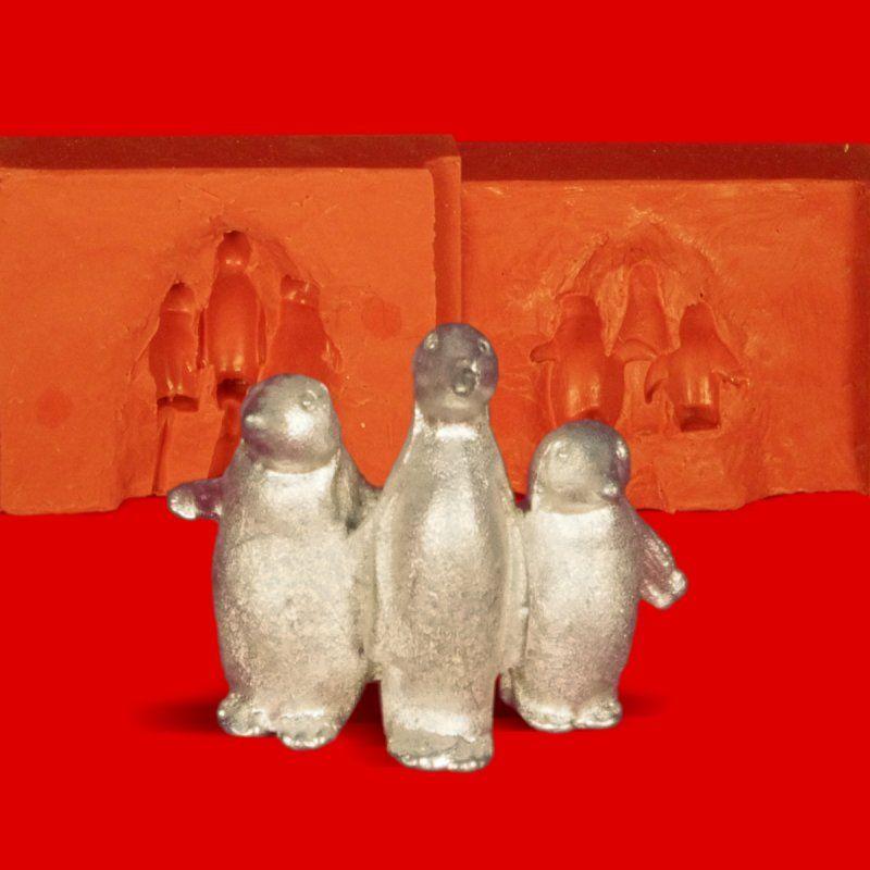 Zinngießform 3 Pinguine, ca. 25g Reinzinn